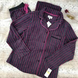 🆕 DKNY Soft Stretch Fleece Long Pajamas 2 Pc Set